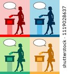 female voter silhouettes with... | Shutterstock .eps vector #1119028637
