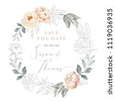 blush pink peony flowers and...   Shutterstock .eps vector #1119036935