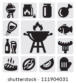 vector black barbecue icons set ... | Shutterstock .eps vector #111904031