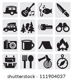 vector black camping theme set... | Shutterstock .eps vector #111904037