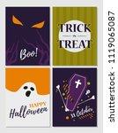 set of halloween cards. vector... | Shutterstock .eps vector #1119065087