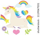 cute unicorn vector cartoon... | Shutterstock .eps vector #1119067031