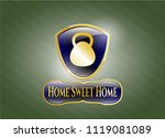 gold emblem with kettlebell... | Shutterstock .eps vector #1119081089