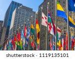 colorful flags in rockefeller... | Shutterstock . vector #1119135101