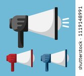 set of megaphone in flat style. ... | Shutterstock .eps vector #1119148991