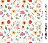 vector floral pattern in doodle ... | Shutterstock .eps vector #1119150254