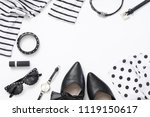 set of black and white woman...   Shutterstock . vector #1119150617