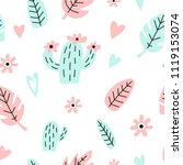 seamless pattern with cactus ... | Shutterstock .eps vector #1119153074
