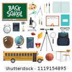back to school icon set of... | Shutterstock .eps vector #1119154895
