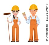 builder man and woman in... | Shutterstock .eps vector #1119169847