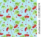 watercolor viburnum branches...   Shutterstock . vector #1119188174