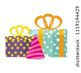 gifts boxes presents with hat... | Shutterstock .eps vector #1119194429