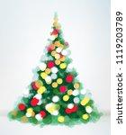 vector christmas tree bokeh... | Shutterstock .eps vector #1119203789