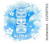 Hawaiian Men/'s Tee Tribal Tiki Mask Image by Shutterstock