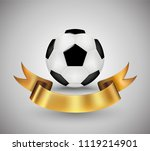 soccer ball with gold ribbon... | Shutterstock .eps vector #1119214901