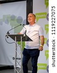 London, United Kingdom, 23rd June 2018:-  Actor Sir Tony Robinson speaks at the march for a People's Vote on the UK Brexit deal - stock photo