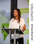 London, United Kingdom, 23rd June 2018:- Gina Miller who took the UK Government to the UK Supreme court and won over Parliament's role in Brexit speaks for a People's vote on the final UK Brexit deal - stock photo