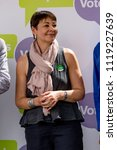 London, United Kingdom, 23rd June 2018:- Caroline Lucas, Green Party MP at the  march for a People's Vote on the UK Brexit deal - stock photo