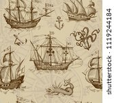 Stock vector old caravel vintage sailboat sea monster monochrome hand drawn sketch vector seamless pattern 1119244184