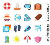 flat style pictures of summer... | Shutterstock .eps vector #1119258527