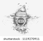 seal with underwater beer  ... | Shutterstock .eps vector #1119270911