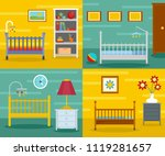baby crib cradle bed banner... | Shutterstock . vector #1119281657