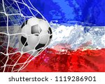 soccer ball in the net with...   Shutterstock .eps vector #1119286901