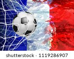 soccer goal. french flag with a ...   Shutterstock .eps vector #1119286907