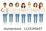 group of young women standing... | Shutterstock .eps vector #1119290657