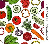 vegetable seamless pattern with ... | Shutterstock .eps vector #1119294374