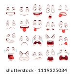 cartoon faces. happy excited... | Shutterstock .eps vector #1119325034
