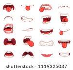 funny mouths. facial... | Shutterstock .eps vector #1119325037