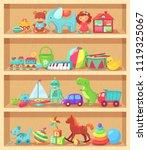 cartoon toys on wood shelves.... | Shutterstock .eps vector #1119325067