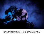 Silhouette Of Howling Wolf...