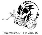 vector image skull with rose in ... | Shutterstock .eps vector #111933215