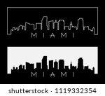 miami city skyline silhouette... | Shutterstock .eps vector #1119332354