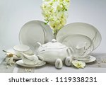 porcelain dinnerware and... | Shutterstock . vector #1119338231