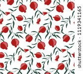 hand drawn pomegranate seamless ... | Shutterstock .eps vector #1119341165