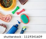 top view of pet care concept...   Shutterstock . vector #1119341609