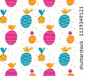 colorful pineapple pattern | Shutterstock .eps vector #1119349121