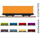 railroad freight wagon colorful ... | Shutterstock .eps vector #1119367331