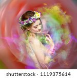 the lady of flowers is half... | Shutterstock . vector #1119375614
