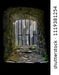 Stock photo very old prison window as nice background 1119381254