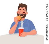 man is eating fast food. the... | Shutterstock .eps vector #1119387761