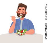 man is eating a salad.... | Shutterstock .eps vector #1119387917