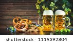 bavarian beer with soft... | Shutterstock . vector #1119392804