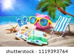 piggy bank with sunglasses... | Shutterstock . vector #1119393764