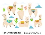 vector set of cute alpaca and... | Shutterstock .eps vector #1119396437