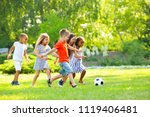 cute little children playing... | Shutterstock . vector #1119406481
