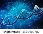 3d render of dna structure in... | Shutterstock . vector #1119408707
